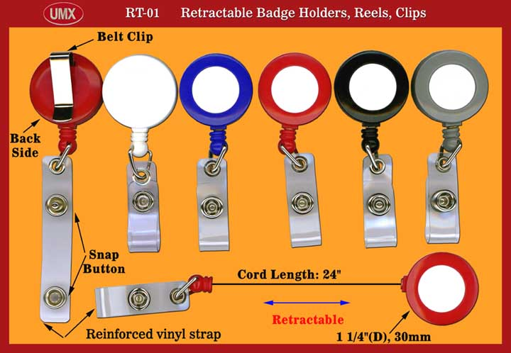 A1 Retractable Badge Reels with Plastic Straps for Badge Holders