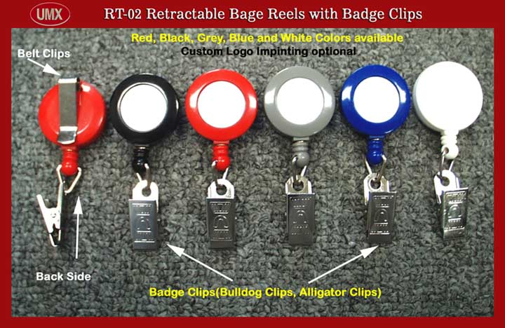 A1 RT-02 Retractable Badge Reels with Badge Clips (Bull Dog, alligator Clips) for ID Card Holders