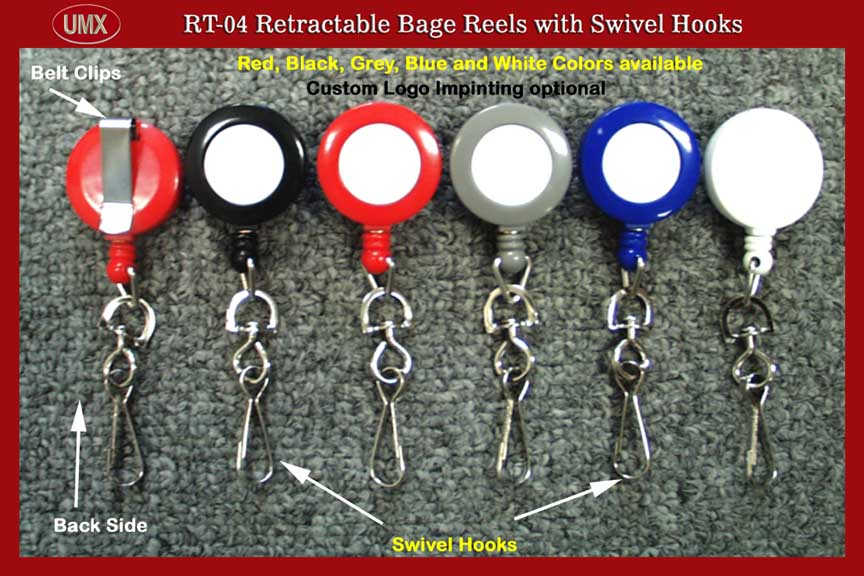 RT-04 Retractable ID Card Reel with Swivel Hook for ID card holder or badge