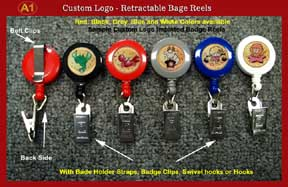 Sample 2 - RT-02 Custom Logo Retractable Reels with Badge Clips for Name Badge holders or ID Card
