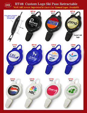 You are viewing Badge Reels > Custom Logo Imprinted or Laser Cut >Eye-Catching Imprinted Retractable Ski Pass With Great Themes.
