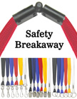 Low cost plain, non-printed safety lanyards with secured-breakaway.