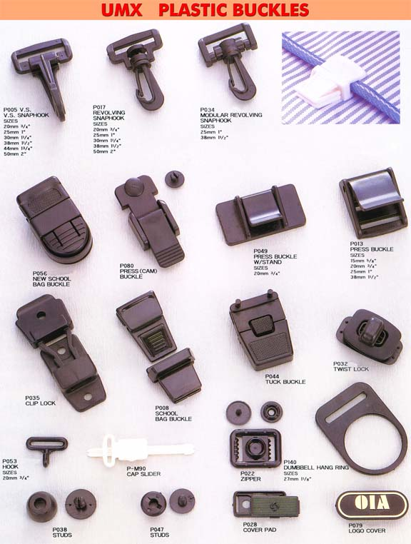 Plastic buckle Series 3: Plastic Buckles, Snap Hooks, Hooks, Bag buckles, Studs, Locks